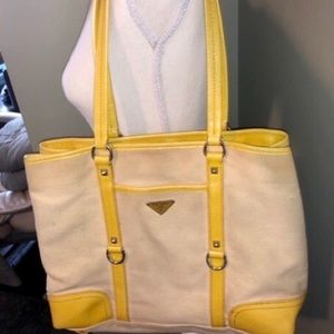 💯%AUTH PRADA CANVAS & LEATHER YELLOW TOTE BAG